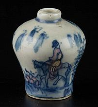 CHINESE REPUBLIC PERIOD POTTERY SNUFF BOTTLE OF MINIATURE PROPORTION