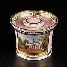 ENGLISH CHAMBERLAIN'S WORCESTER PORCELAIN INKWELL, LINER AND COVER