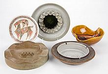 AMERICAN STUDIO POTTERY LITTLEJOHN ASHTRAYS, TWO HAEGER ASHTRAYS AND A DISH, LOT OF FIVE