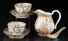 CHINESE EXPORT PORCELAIN ROSE MEDALLION TABLE ARTICLES, LOT OF SIX