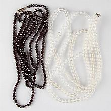 VINTAGE FACETTED BEAD NECKLACES, LOT OF TWO