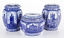 ENGLISH STAFFORDSHIRE IRONSTONE TEA- AND BISCUIT- BARRELS, LOT OF THREE