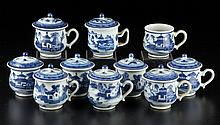 CHINESE EXPORT PORCELAIN CANTON POTS-DE-CRÈME, LOT OF TEN