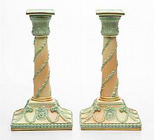 ENGLISH ROYAL WORCESTER PORCELAIN PAIR OF CANDLESTICKS