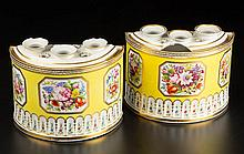 ENGLISH PORCELAIN YELLOW-GROUND BOUGH POTS AND COVERS, PAIR