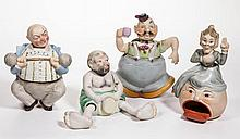 CONTINENTAL AND ASIAN BISQUE PORCELAIN COMICAL NODDERS, LOT OF FOUR