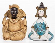 CONTINENTAL BISQUE AND GLAZED PORCELAIN SEATED POLYCHROME-PAINTED NODDER FIGURES, LOT OF TWO