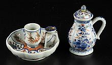 JAPANESE IMARI PORCELAIN CANDLESTICK AND PEPPER POT, LOT OF TWO