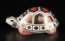 ENGLISH CROWN DERBY PORCELAIN CHARLES WILLIS LIMITED EDITION FIGURE OF A TURTLE