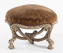 CONTINENTAL CARVED AND PAINTED FOOTSTOOL