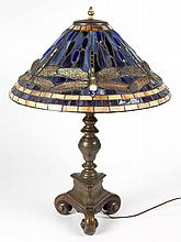 AMERICAN TIFFANY-STYLE DRAGONFLY TABLE LAMP