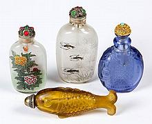 CHINESE GLASS SNUFF BOTTLES, LOT OF FOUR