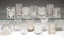 ASSORTED CUT GLASS TOOTHPICK HOLDERS, LOT OF 15