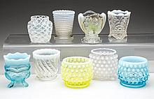 ASSORTED OPALESCENT GLASS TOOTHPICK HOLDERS, LOT OF NINE