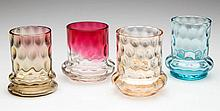 ASSORTED INVERTED THUMBPRINT TOOTHPICK HOLDERS, LOT OF FOUR