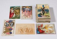 ASSORTED PATRIOTIC AND OTHER POST CARDS, LOT OF 125 +/-
