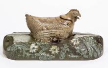HEN AND CHICK FIGURAL CAST-IRON MECHANICAL BANK