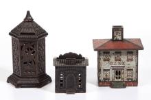 ASSORTED CAST-IRON PENNY BANKS, LOT OF THREE