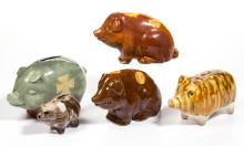 ASSORTED PIG-FORM CERAMIC PENNY BANKS, LOT OF FIVE