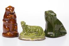AMERICAN / ENGLISH FIGURAL ANIMAL CERAMIC PENNY BANKS, LOT OF THREE