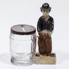 CHARLIE CHAPLIN FIGURAL GLASS CANDY CONTAINER / BANK