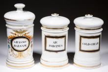 FRENCH PORCELAIN APOTHECARY SHOP JARS, LOT OF THREE