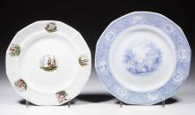 ENGLISH AMERICAN HISTORICAL CERAMIC PLATES, LOT OF TWO