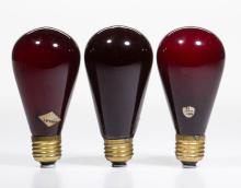 ASSORTED SHELBY AND OTHER COLORED GLASS LIGHT / LAMP BULBS, LOT OF THREE