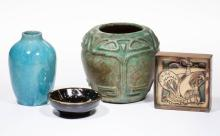 ASSORTED ART POTTERY ARTICLES, LOT OF FOUR