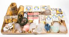 ASSORTED MANUFACTURERS LIGHT / LAMP BULBS AND SOCKETS, UNCOUNTED LOT