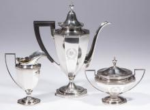 DURGIN STERLING SILVER THREE-PIECE DEMITASSE SET
