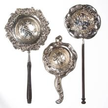 STERLING SILVER TEA STRAINERS, LOT OF THREE