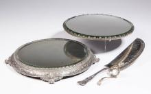 VICTORIAN SILVER-PLATED MIRROR PLATEAUS, LOT OF TWO
