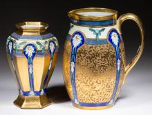 AMERICAN PICKARD GOLD-DECORATED CERAMIC PITCHER AND VASE