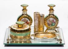 FRENCH GOLD-DECORATED PORCELAIN DRESSER SET, LOT OF SEVEN