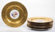 GERMAN GOLD-DECORATED PORCELAIN PLATES, LOT OF EIGHT