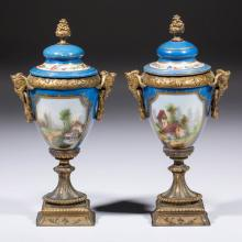 EUROPEAN CERAMIC DECORATED URNS, LOT OF TWO