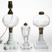 ASSORTED GLASS KEROSENE STAND LAMPS, LOT OF THREE