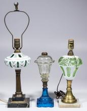 ASSORTED REPRODUCTION GLASS KEROSENE STAND LAMPS, LOT OF THREE