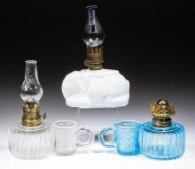 ASSORTED FIGURAL PATTERN MINIATURE LAMP FONTS, LOT OF THREE