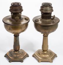 ALADDIN ORIENTALE KEROSENE STAND LAMPS, LOT OF TWO