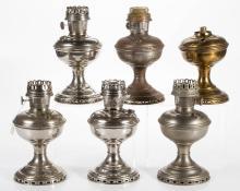 ASSORTED ALADDIN METAL KEROSENE STAND LAMPS, LOT OF SIX