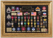 WORLD WAR II FRAMED COLLECTION OF MEDALS AND PATCHES