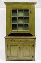 AMERICAN COUNTRY PAINTED POPLAR AND PINE STEP-BACK WALL CUPBOARD