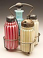 OPALESCENT STRIPE FOUR-BOTTLE CONDIMENT SET
