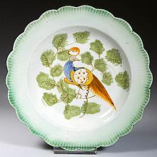 ENGLISH STAFFORDSHIRE POTTERY PEARLWARE PEAFOWL TODDY PLATE