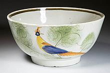ENGLISH STAFFORDSHIRE POTTERY PEARLWARE PEAFOWL BOWL