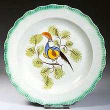 ENGLISH STAFFORDSHIRE POTTERY PEARLWARE PEAFOWL PLATE