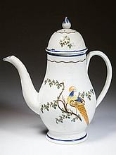 ENGLISH STAFFORDSHIRE POTTERY PEARLWARE PEAFOWL COFFEE POT AND DOMED COVER