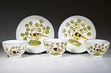 ENGLISH STAFFORDSHIRE POTTERY PEARLWARE PEAFOWL SMALL TEA BOWLS AND SAUCERS, LOT OF FIVE